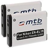 2x Batería EN-EL19 para Nikon S01, S100, S2500, S2550, S2600, S2700, S3100, S3300.... (ver descripción)