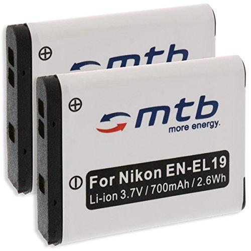 2x Akku EN-EL19 für Nikon S7000, S6900, S5300, S3700, S4100, S2700, S100, S33... / A100, A300, W100 - s. Liste!