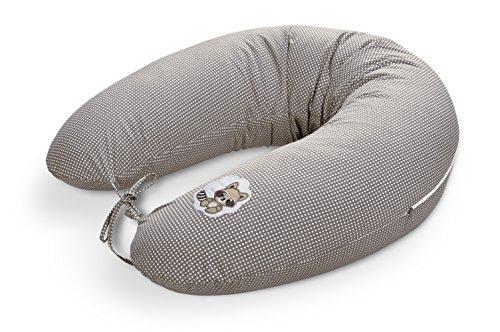 Sei Design® Baby Stillkissen Schwangerschaftskissen 170 x 30cm, Füllung bestehend aus Faserbällchen - sehr weich und angenehm. Bezug mit Reißverschluss und hochwertiger Stickerei. (Taupe-Waschbär)
