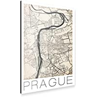 artboxONE Alu-Print 120x80 cm Retro City Map Prague von Künstler David Springmeyer