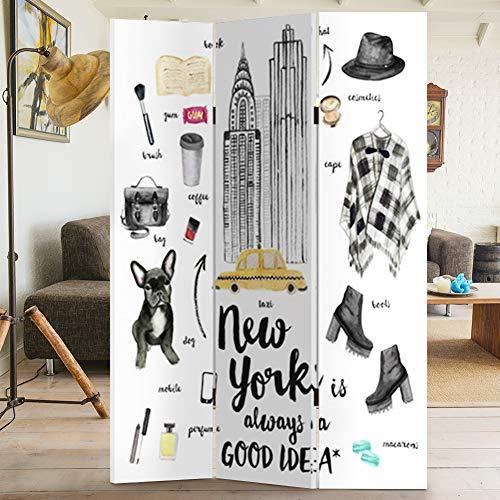 BAKAJI Paravento Separè 3 Pannelli Struttura in Legno Rivestimento in Tela con Stampa Fronte Retro Fashion Style New York Divisorio Richiudibile Pieghevole 180 x 120 cm
