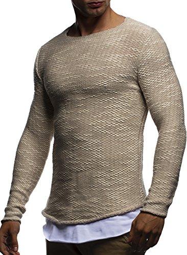 LEIF NELSON Herren Strickpullover Pullover Sweatshirt LN20733; Grš§e L, Beige