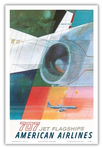 1957 Poster (Pacifica Island Art Boeing 707Jet-Flaggschiffe-American Airlines-Vintage Airline Travel Poster von Herbert Danska c.1957-Master Kunstdruck 12
