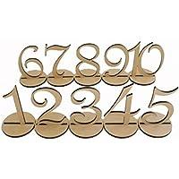 WINOMO Tavolo in Legno Numeri 1-10 con Supporto Base per Matrimonio o Compleanno Decorazione 10pz