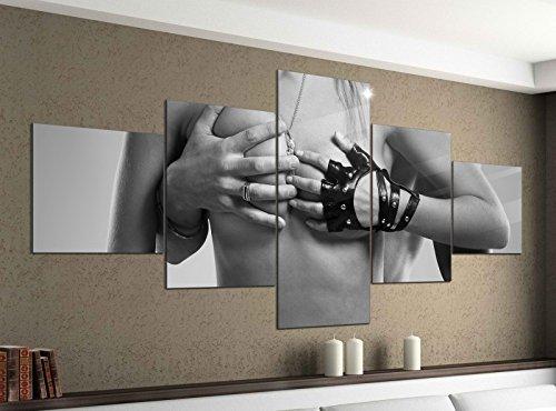 Leinwandbild 5 tlg. 200cmx100cm Sexy Frau Mann Erotik Pose Schlafzimmer schwarz weiß Bilder Druck auf Leinwand Bild Kunstdruck mehrteilig Holz 9YA1430, 5Tlg 200x100cm:5Tlg 200x100cm