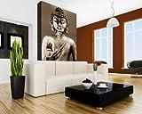 Vlies Fototapete - Buddha III - sephia - Sepia - 65x100 cm - mit Kleister - Foto auf Tapeten - Wandtapete – Vliestapete – Wanddeko