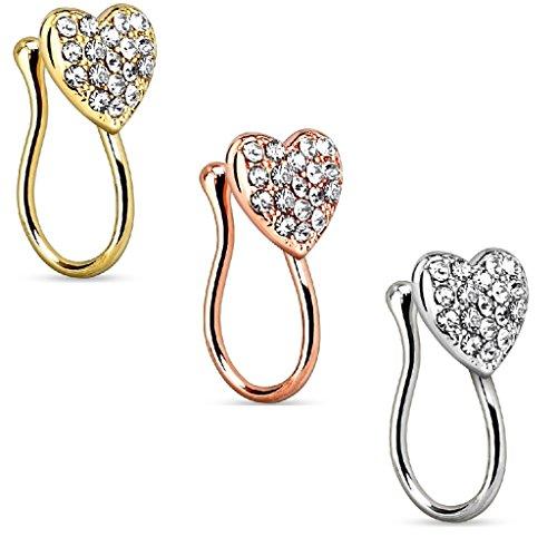 Coolbodyart Femme Nasenclip Piercing de nez faux Piercing Pince avec coeur et Strass-pierres en or, Or rose, Argent aussi au Kit économique 3´homme Ensemble