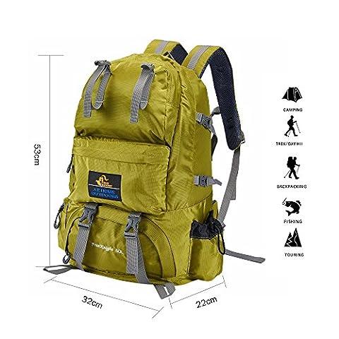 Babimax 50L Sac à dos Imperméable pour Camping Randonnée Extérieure Sport Voyage Escalade Unisexe (Vert)