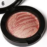 Colorete clifcragrocl,Paleta de rubor en polvo para mujeres con 6 colores de mejillas al horno, rubor en polvo, bronceador - 6