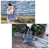 Tote Bag, Beach Bag Splash Water Proof Nylon PU Stitching Handbag Large Capacity Women Girls Shoulder Bag for School Work Travel Shopping Grey