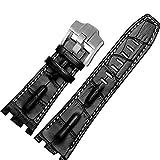 28mm en cuir noir bracelet blanc couture ajustement Boucle AP Audemars Piguet...