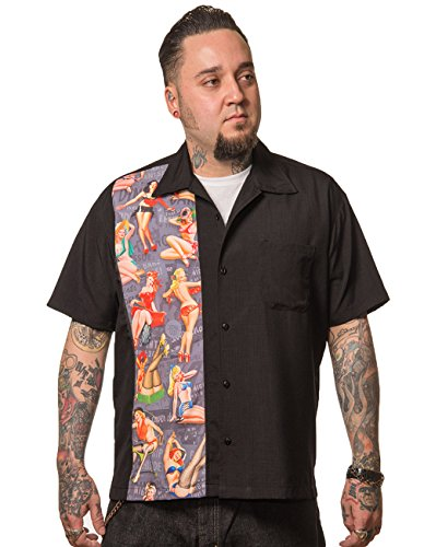 Steady Clothing Herren Vintage Bowling Hemd - Pin-Up Print Panel Bowling Shirt Schwarz