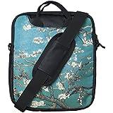 """TaylorHe Maletín Funda para Tablet/iPad/Netbook bolso de bandolera para 9,7"""" 10"""" 10,1"""" con bolsillos laterales para accesorios diseño de azul / verde árbol de la flor"""