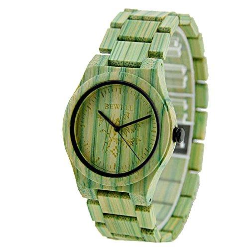 Bewell W105DG Hommes Coloré Bambou Bois Poignet Montres Hypoallergénique Naturel Bois Quartz Analogique Horloge