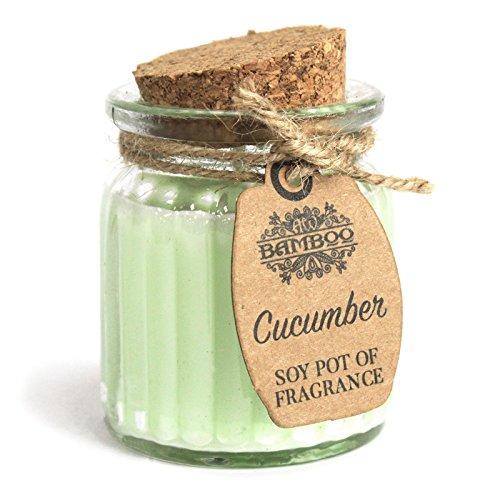 Bamboo 100% Sojawachs Kerze im Glas mit Korkdeckel - Vegan / 100% Natürlich (Gurke) -