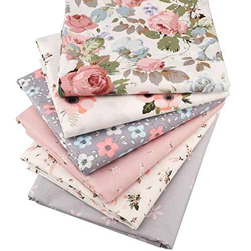 6 Stück/Lot Floral Series Twill-Baumwollstoff, Patchworkstoff, DIY Nähen, Quilten, Fat Quarters Material für Baby und Kinder