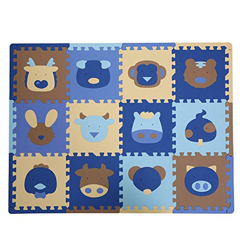 Lvbeis Schaum Spielmatte die Tier Puzzle Spiel Kriechende Boden Turnhalle der Matten 36pcs Rutschfest,Blue