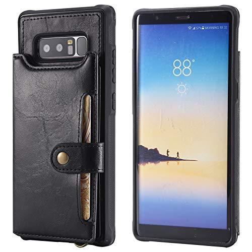 Schutzhülle für Samsung Note 8, mit Kartenfächern, PU-Leder, Handschlaufe, magnetischer Schnappverschluss, strapazierfähig, Standfunktion, weich für Männer und Frauen, schwarz