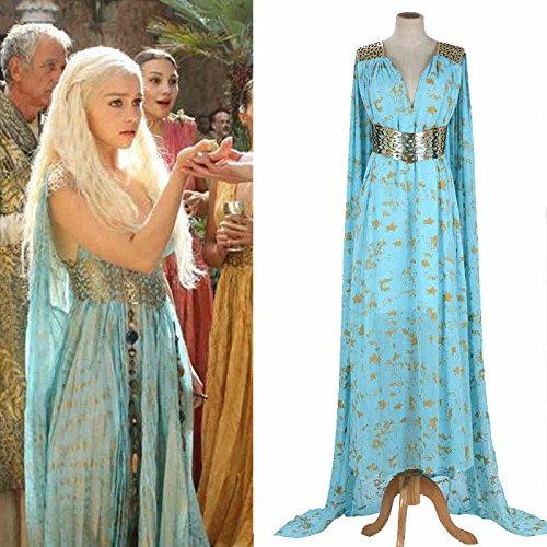 Sunkee Halloween Game Of Thrones Cosplay Daenerys Targaryen Qarth Kleid-Partei-Kostüm, Maßgeschneiderte (Bitte geben Sie Ihr Gewicht, Höhe, Breite, Taille, Brust und Hüfte) (S: 155-160cm, Daenerys Targaryen Grün (Targaryen Daenerys Kostüm)