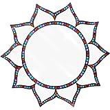 Große Mosaik handgefertigt buntes Glas Spectrum Lotus Design Wand montiert Spiegel 54cm, blau, violett, pink, rot Mosaic