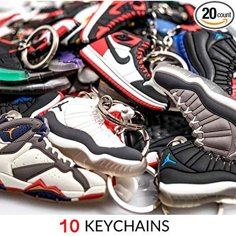 NIS Industries Mini Sneaker Schlüsselanhänger-Rare Air Packungen-Gummi/Silikon 2D Retro Sneakers Basketball Schuh Schlüsselanhänger-Perfekt Sneakerhead Geschenkidee, Retro Air, Small