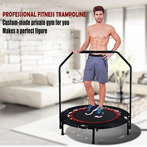 Flabor Fitness Trampolin Faltbar mit Haltestange Indoor Rebounder Gymnastik Trampolin für Erwachsene