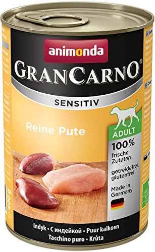 animonda GranCarno Hundefutter Adult Sensitiv, Nassfutter für ausgewachsene Hunde, Reine Pute, 6 x 400 g
