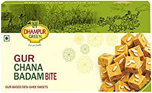 Dhampure Speciality Gur Chana Badam Bite - Gur Based Desi Ghee Indian Sweets - 400g (Pack of 1 - 400g Each)
