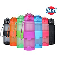 YOOSUN bouteille d'eau de sport gourde sans bpa anti fuite réutilisable tritan plastique bouteilles de gym pour camping, yoga,les activités de plein air,randonnée, bidon vélo, s'ouvre en 3 clic