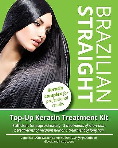 Brazilian Straight, (Top-Up) Keratin Home Use Treatment Kit, Salon Quality Hair Straightening /Blow Dry,