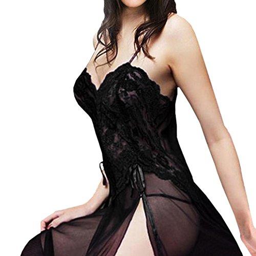 Feder Trim Dessous (Frauen Sexy Dessous Babydoll Nachthemd Plus Größe mingfa Floral Nachtwäsche Nachtwäsche Tanga aus Spitze Langes Kleid Unterwäsche Set XL schwarz)