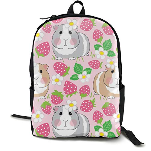 Guinea-pigs-in-a-strawberry-patch Adult Premium Travel Backpack, Water-Resistant College School Bookbag, Sport Daypack, Outdoor Rucksack, Laptop Bag for Men&Women