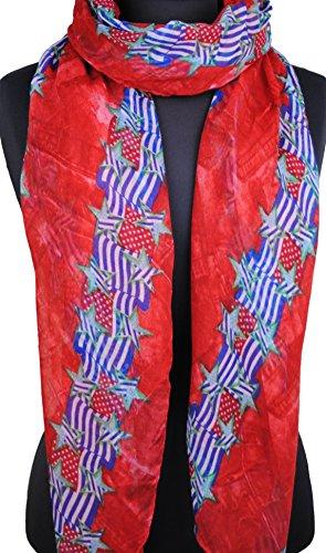 Immerschön Tuch Schal Pareo Strandtuch Wickeltuch Sarong in vielen Motiven und Farben USA Flags & Stars rot