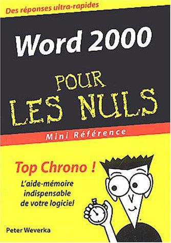 Word 2000 par Peter Weverka