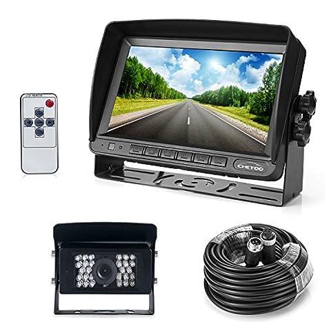 Farb Rückfahrkamera mit Monitor System, 28 IR LED Nachtsicht mit Wasserdicht Rückfahrsystem Kamera + 7