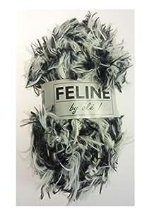Pelote de laine 100 g pelote de fil avec franges-fELINE fransengarn noir/blanc