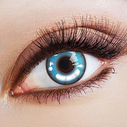 aricona Kontaktlinsen Farblinsen  N°371 - Farbige 12-Monats Kontaktlinsen Paar ohne Stärke, weich und angenehm zu tragen, Wassergehalt: 42%, Blau/Weiß