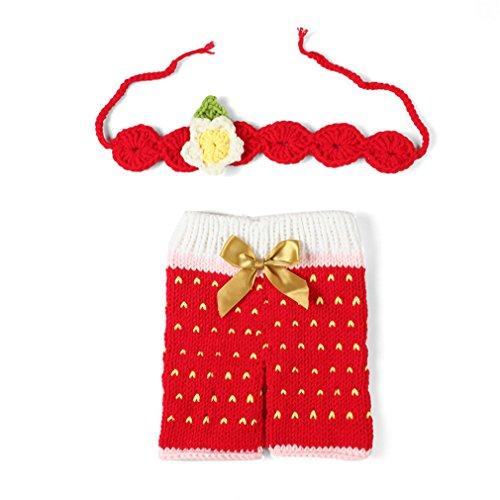 p Baby-Kostüm Süss Erdbeeren Crochet Strickmütze Hut Mädchen Jungen (Erdbeere Kostüm Baby)