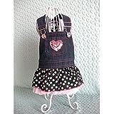 Imported Dog Puppy Denim Dungarees Pink Heart Sequin Polka Dot Ruffle Jumper Dress L