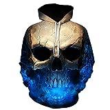 Große Größe Kapuze Pullover Herren Damen, DoraMe Männer Frauen Schädel 3D Gedruckte Lange ärmel Kapuzenpulli Unisex Hoodie Sweatshirt Lässig Bluse Party Shirt (Blau, XL)