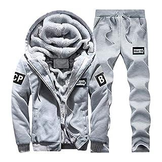 Fitness-Trainingsanzüge für Herren Jogging Anzug Trainingsanzug Sportanzug Hoodie Winter Warm Fleece Zipper Sweater Jacket Outwear Coat Top Pants Sets