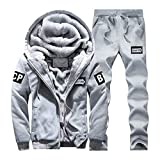 Igemy Herren Hoodie Winter Warm Zipper Pullover Top + Hosen Set