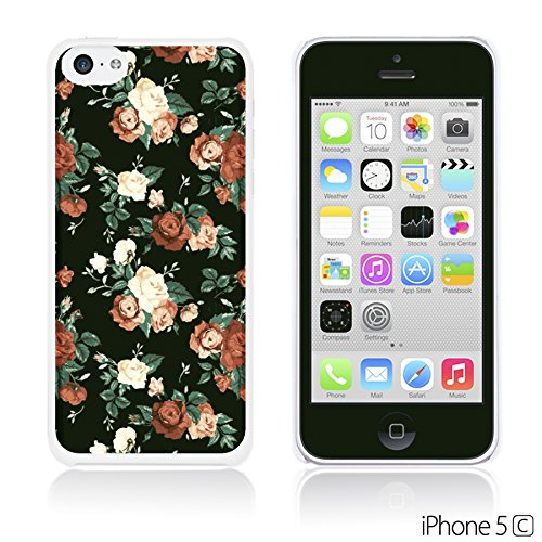 OBiDi - Fabric Pattern Hard Back Case / Housse pour Apple iPhone 5C - Pink Floral Fabric Prints Red Roses In Black Background