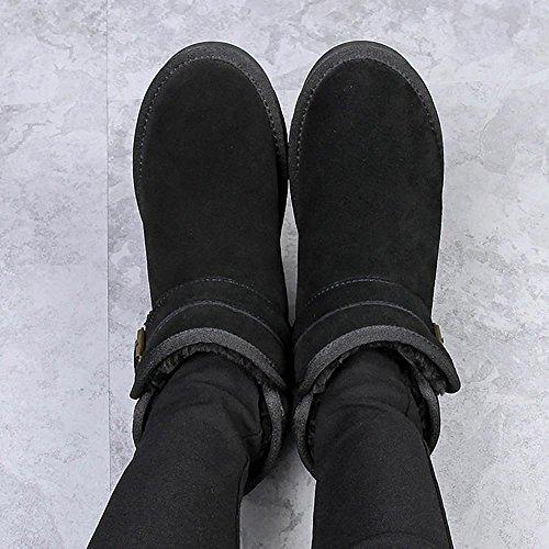 SHANGXIAN Donna Originale Mini Inverno Foderato Di Pelliccia Casuale Stivaletti black