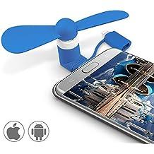 Mini Cooling Ventilateur ,Ubegood Universal 2 in 1 Mini portable USB électrique Ventilateur pour iPhone et Android Smartphones (Bleu)
