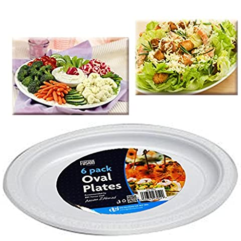 DISPOSABLE OVAL PICNIC PLATES PLATTERS BBQ FRUIT SALAD MEAT WASHABLE