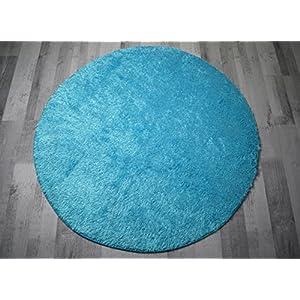 Hochflor Teppich Shaggy Flairy   Farbenfroh Und Weich (180 Cm Rund, Blau /Türkisblau