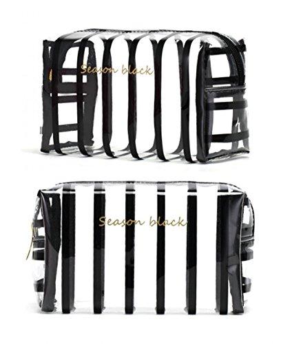 Hoyofo gestreifte Make-up-Tasche für Frauen schwarze streifen (Leder-lippenstift-halter)