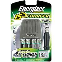 Energizer Chargeur de batterie 4 AA 2200 mAh + Chargeur Allume cigare