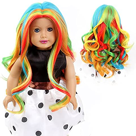 Stfantasy American Girl Doll Wigs Extra Long Curly Heat Resistant Synthetic Hair 18 Inch 100g Rainbow Wig Peluca, Colorful